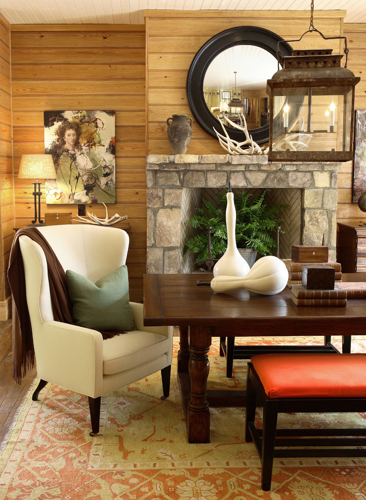 Dining Chairs with Casters Dining Room Rustic with Antlers Bench Fireplace Mountain Contemporary Mountain Home Mountain House Paneled Walls Wingback