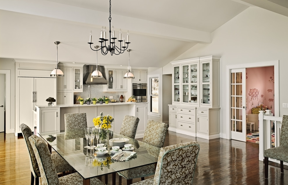 Dining Hutch Kitchen Farmhouse with Accessory Room Addition Backyard Brick Chimney Built in Hutch Cabinet Front Refrigerator