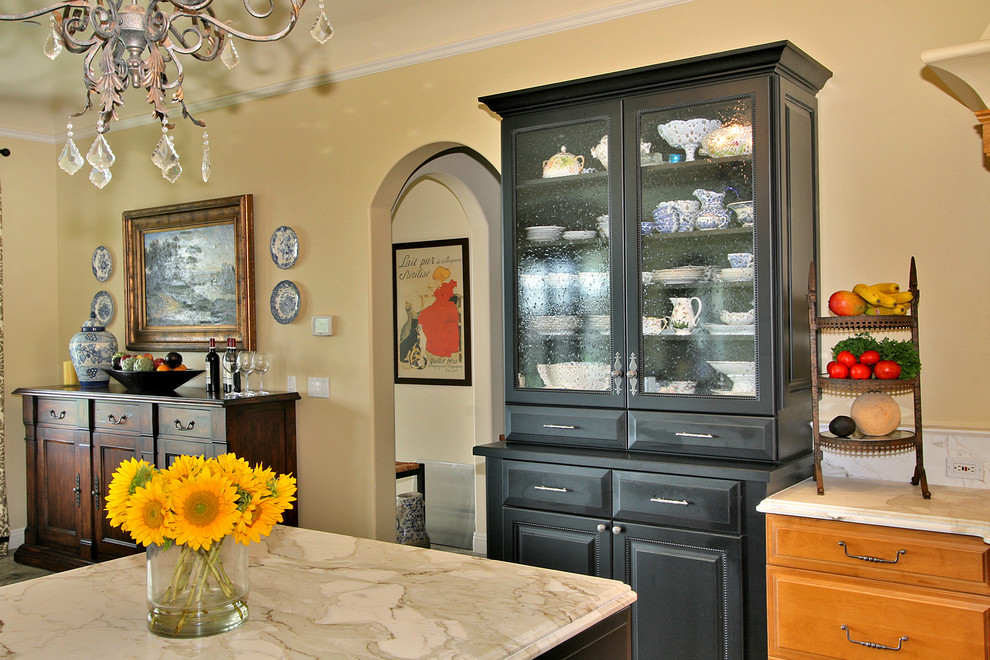 Dining Hutch Kitchen Traditional with Archway Black Cabinets Dining Buffet Dining Hutch Drawer Pulls Floral Arrangement Fruit