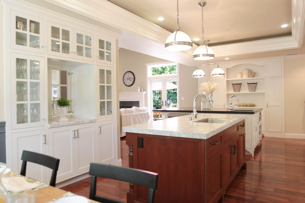 Dining Hutch Kitchen Traditional with Crown Molding Dining Buffet Dining Hutch Double Islands Eat in Kitchen Footed