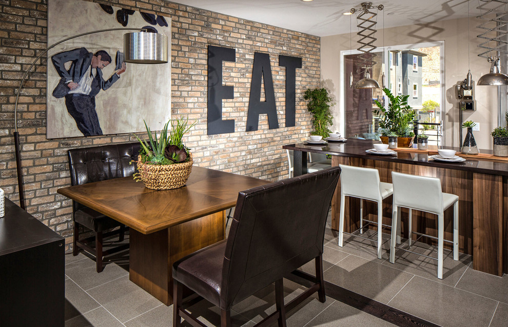 Dining Table Bases Dining Room Contemporary with Centerpiece Counter Stools Dark Countertop Earth Tones Eat in Exposed Brick Wall Floor