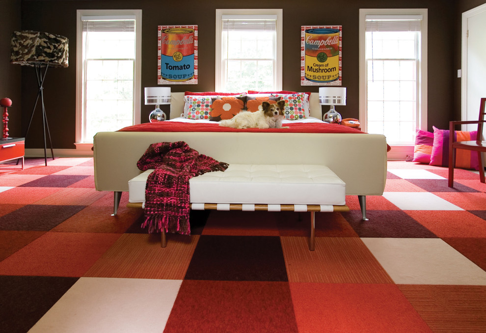 discount carpet tiles Bedroom Contemporary with bedroom bench brown walls campbell's soup checkerboard chocolate dog floor tiles FLOR