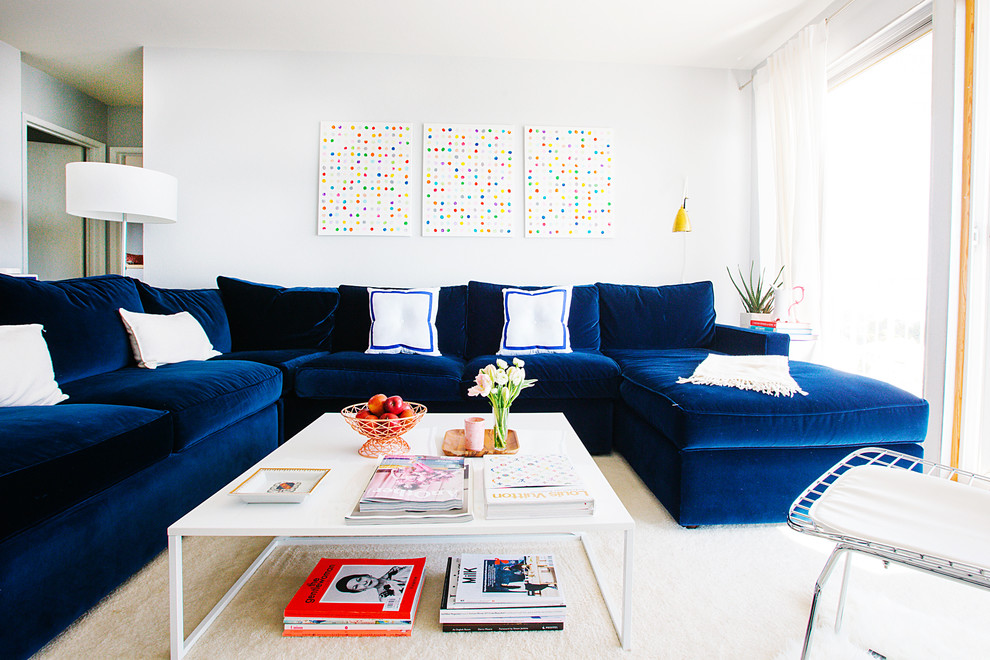 Discount Sectional Sofas Living Room Transitional with Abstract Art Blue Velvet Sectional Sofa Drum Shade Floor Lamp My Houzz