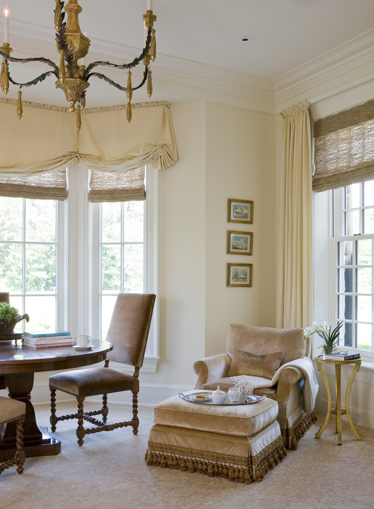 Discount Window Treatments Living Room Traditional with Balloon Shades Baseboards Carpet Pattern Chandelier Crown Molding Curtains Drapes Gold Accents