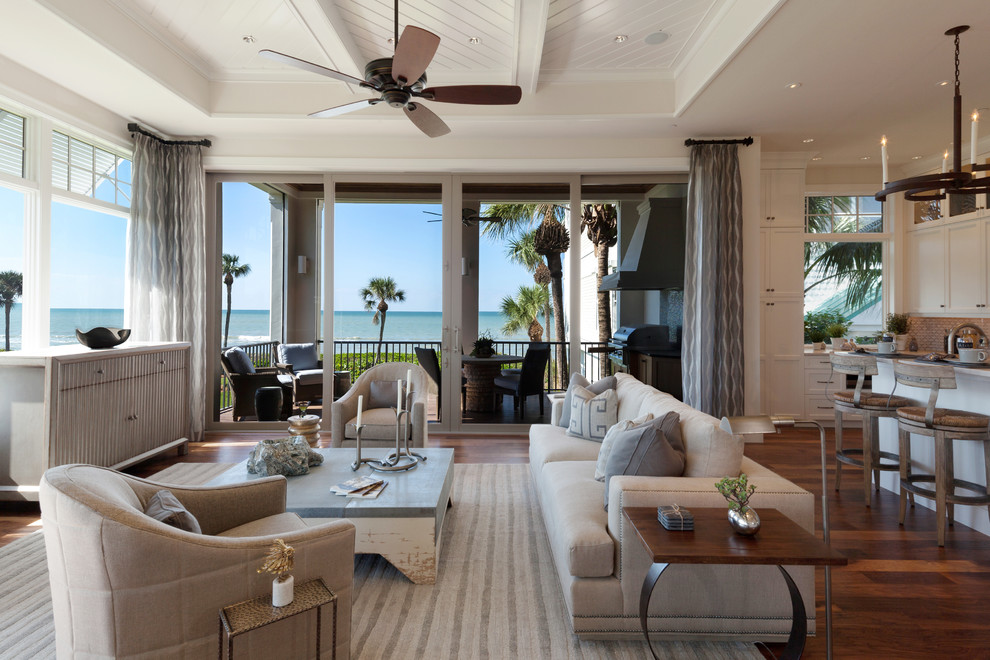 Distressed Coffee Table Living Room Tropical with Beige Couch Ceiling Fan Coffered Ceiling Distressed Coffee Table Great Room Kitchen
