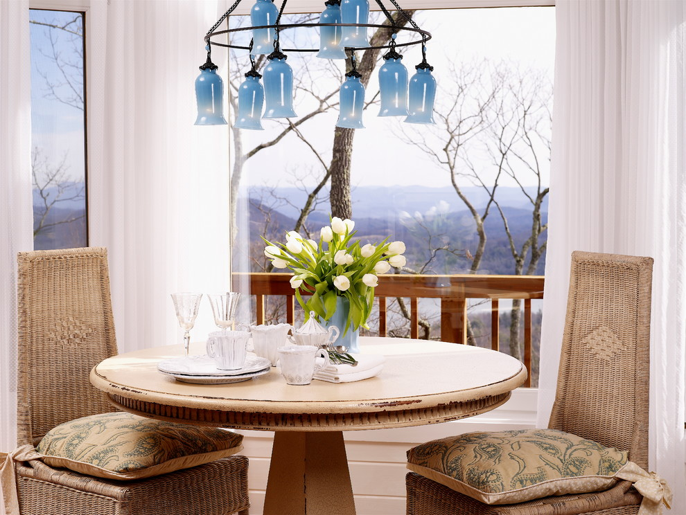 Distressed Wood Dining Table Dining Room Eclectic with Blue Glass Chandelier Chair Cushions Deck Distressed Wood Dining Table Eat In