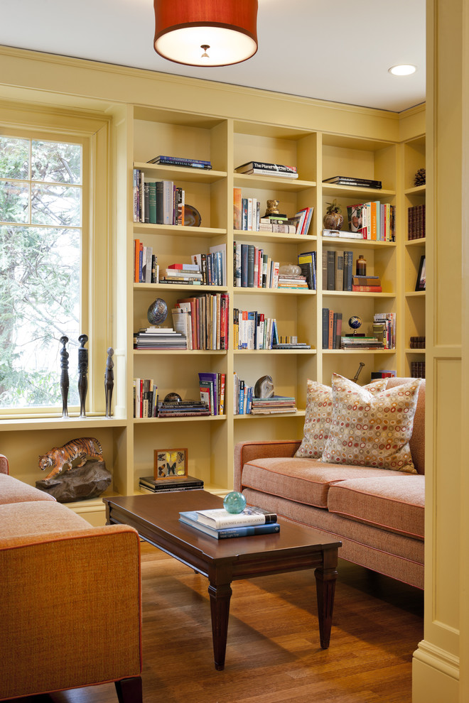 Doc Mcstuffins Bedroom Living Room Eclectic with Bookcase Books Bookshelves Built in Bookshelves Ceiling Light Coffee Table Color Gold Library