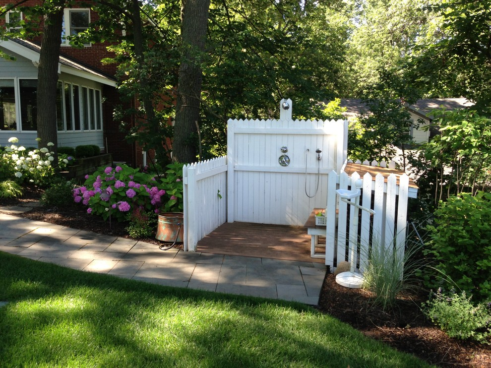 dog carrier for bike Patio Beach with bark mulch Hydrangea landscaping lawn outdoor shower path pavers picket fence Porch