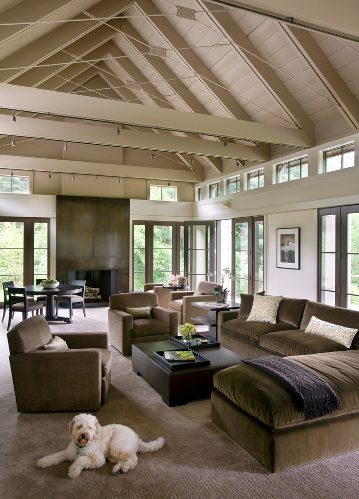 Dog Couches Living Room Transitional with Beige Carpet Beige Ceiling Beige Ceiling Beams Beige Room Beige Rug Brown