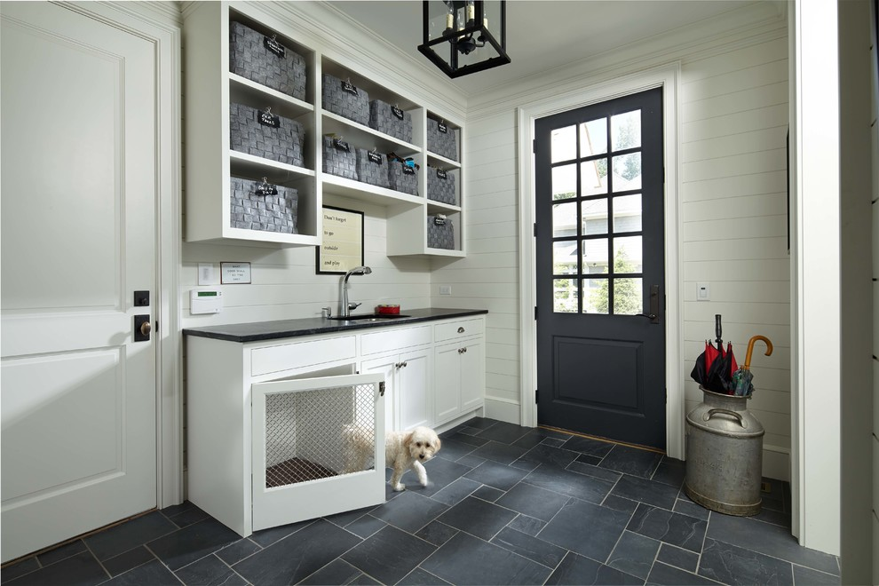 Dog Crate Furniture Entry Traditional with Baskets Black Countertop Board Walls Colonial Crown Dog Dog Bed Dog Kennel