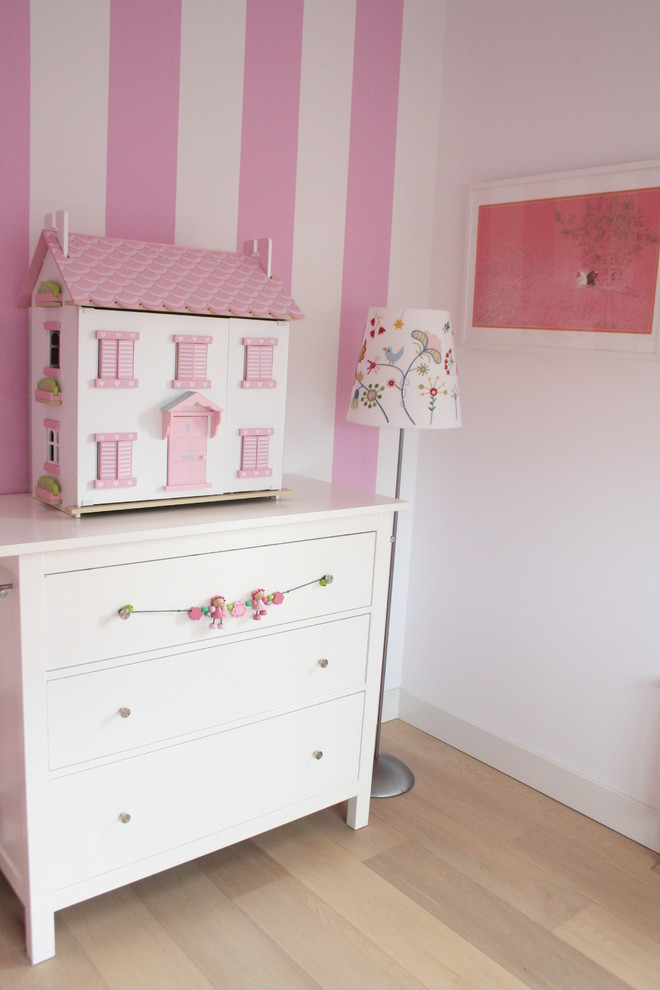 Dollhouse Furniture Kids Contemporary with Accent Wall Baseboards Chest of Drawers Dollhouse Dresser Girls Room Pink Walls