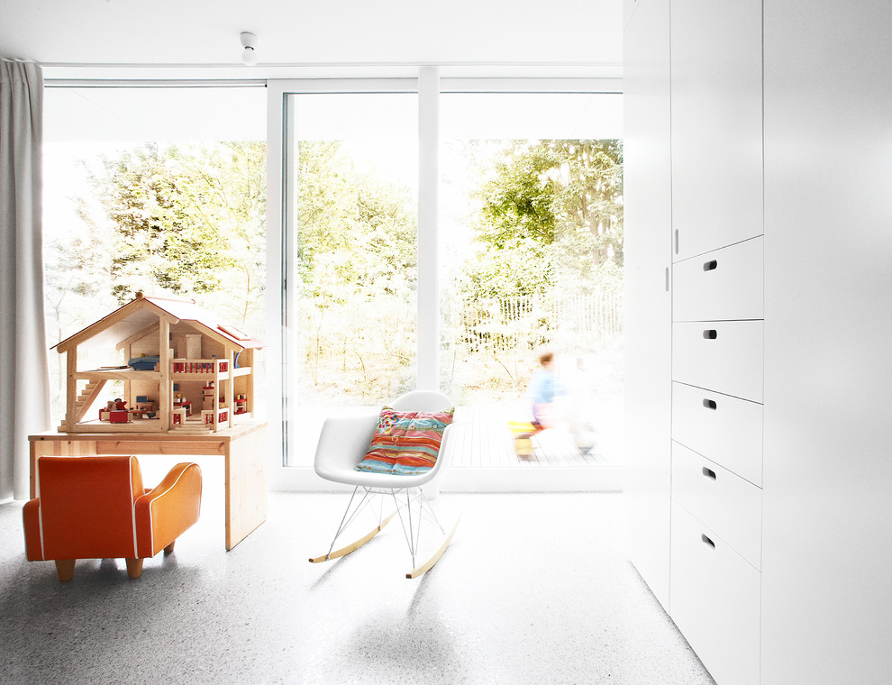 Dollhouse Furniture Kids Modern with Built in Armoire Built in Cabinets Concrete Floor Concrete Patterned Floor Floor to Ceiling Windows Gray