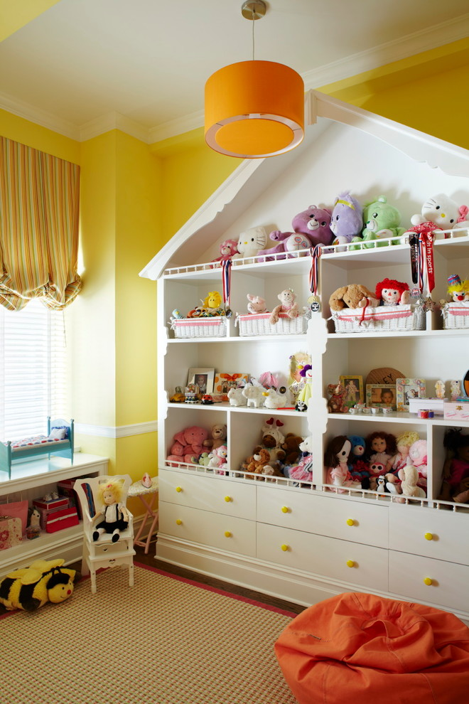 Dollhouse Furniture Kids Traditional with Balloon Shade Baskets Beanbag Built in Carpet Dolls Orange Pendant Play Room