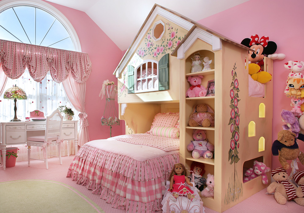 Dollhouse Furniture Sets Kids Traditional with Arch Window Bedroom Bedroom Desk Bunk Bed Childs Bedroom Drapes Feminine Girl