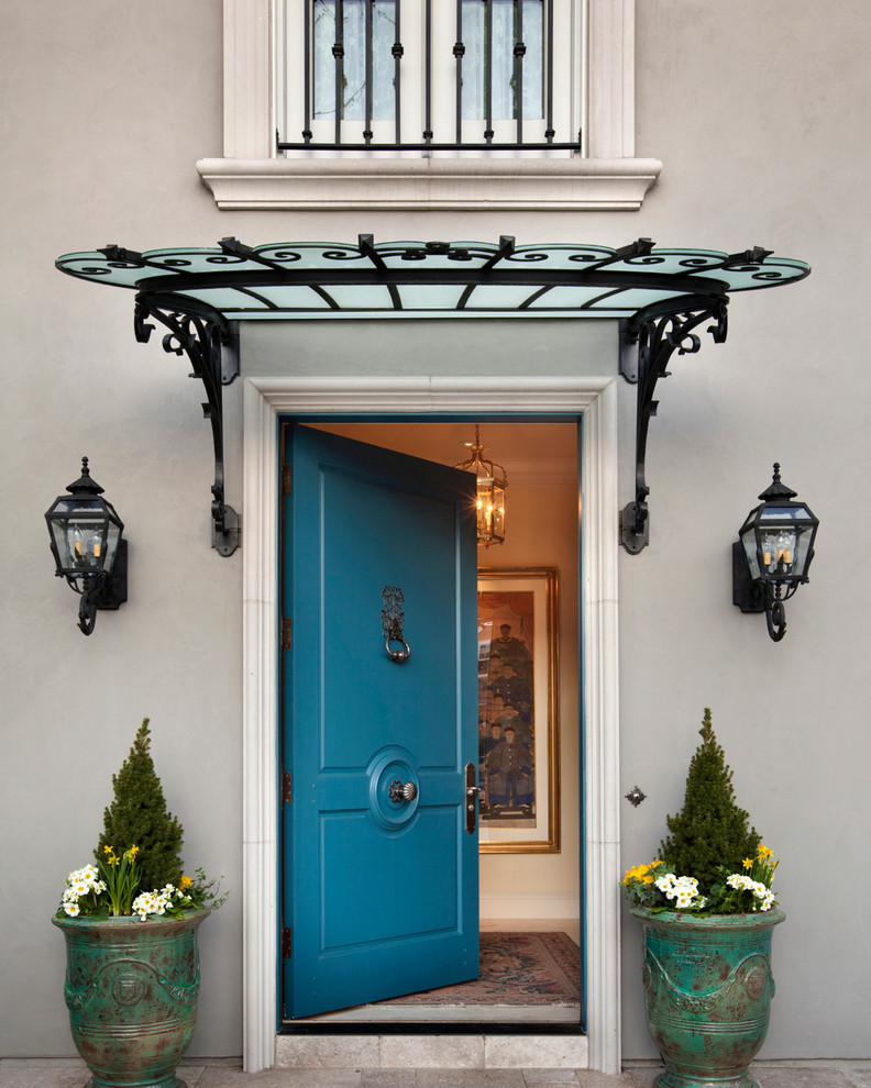 Doorbell Chimes Exterior Traditional with Awning Blue Blue Front Door Covered Entry Door Entry Exterior Front Entrance