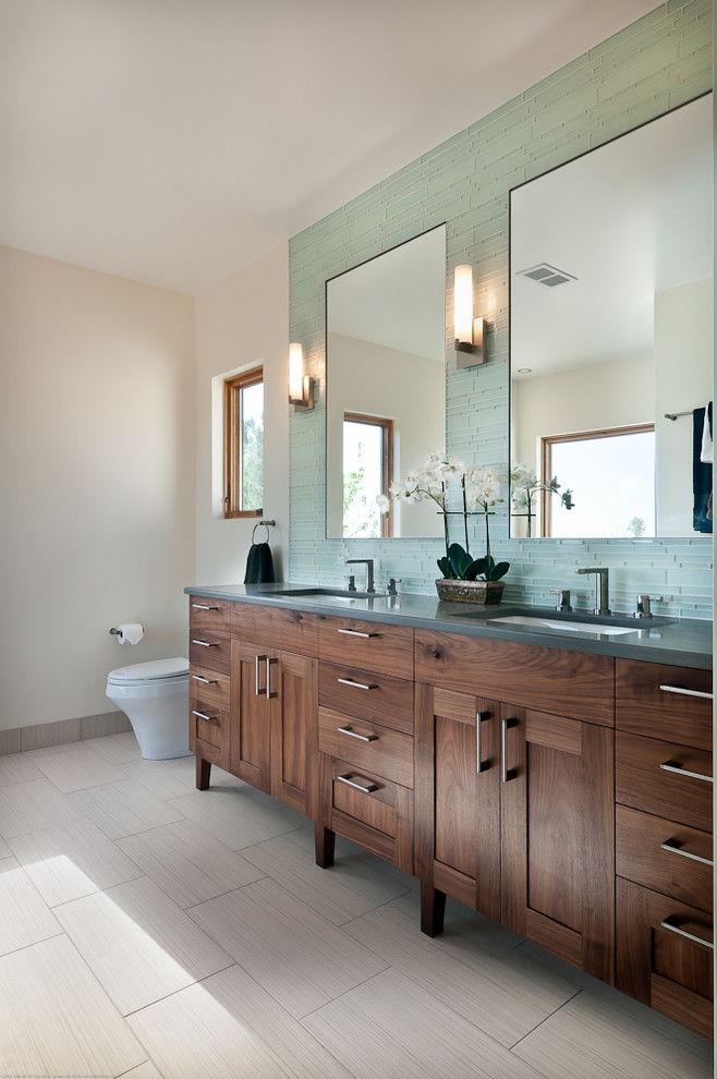 double bathroom vanities Bathroom Transitional with bathroom mirror beige tile floor beige wall blue mosaic tile backsplash dark