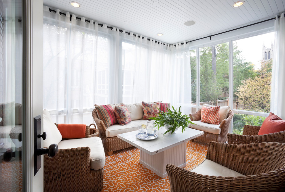 Double Curtain Rod Set Sunroom Transitional with Glass Wall Orange Rug Recessed Lighting Sun Porch Sun Room Throw Pillow