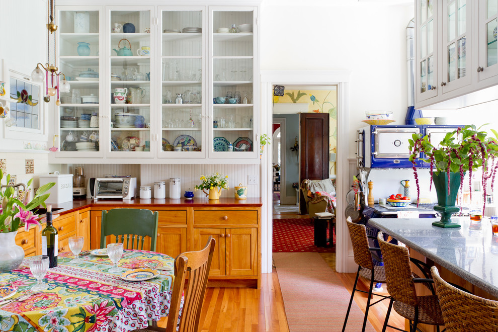 Double Old Fashioned Glasses Kitchen Eclectic with Blue Range Blue Stove Colorful Kitchen Colorful Tablecloth Double Sided Cabinets Glass Cabinets