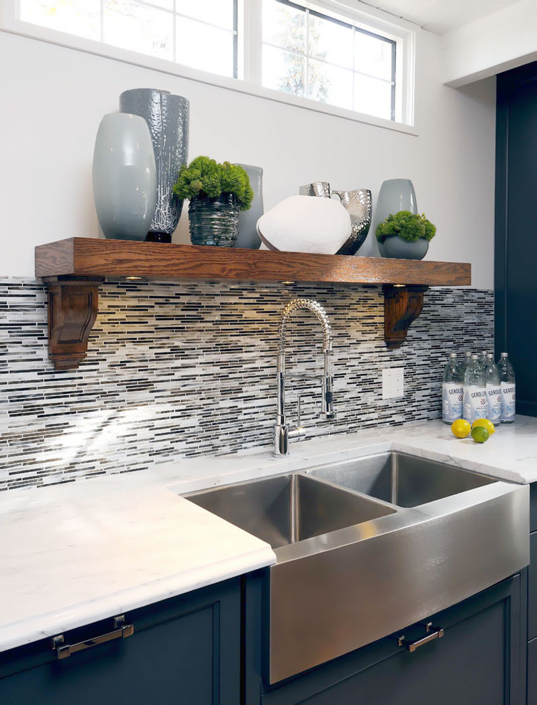 Double Old Fashioned Glasses Kitchen Transitional with Apron Sink Blue Cabinets Collection Farmhouse Sink Kitchen Hardware Kitchen Shelves Stainless