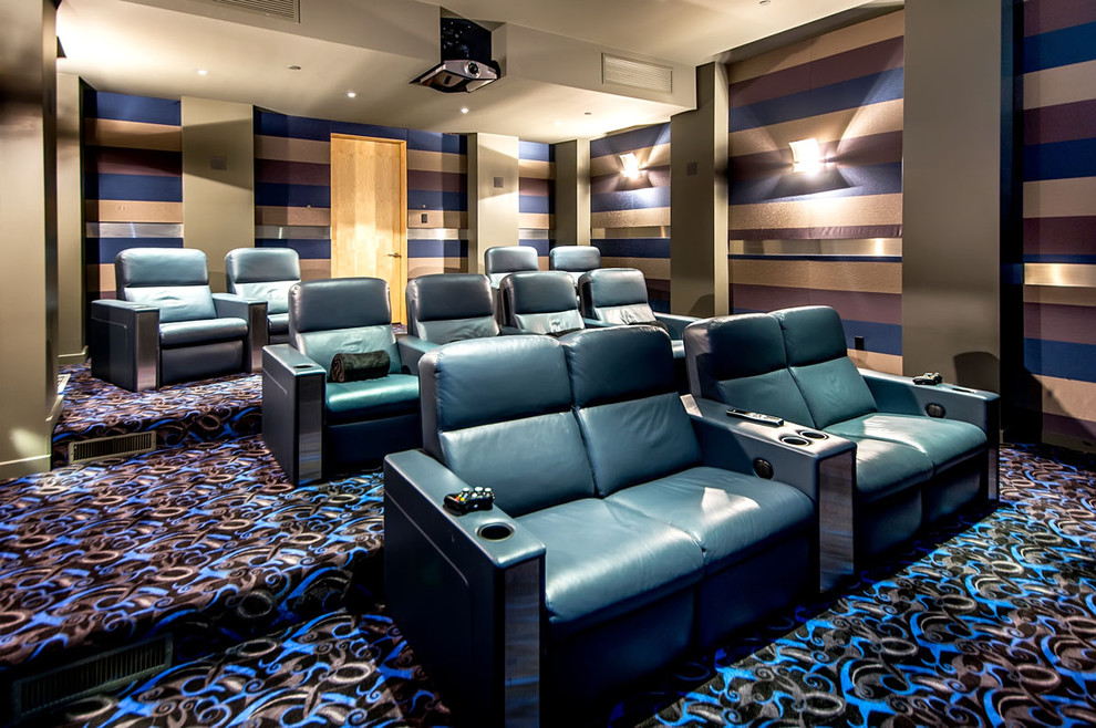 Double Recliner Home Theater Contemporary with Blue Leather Cinema Seating Patterned Carpeting Steps Striped Walls Wall Sconces