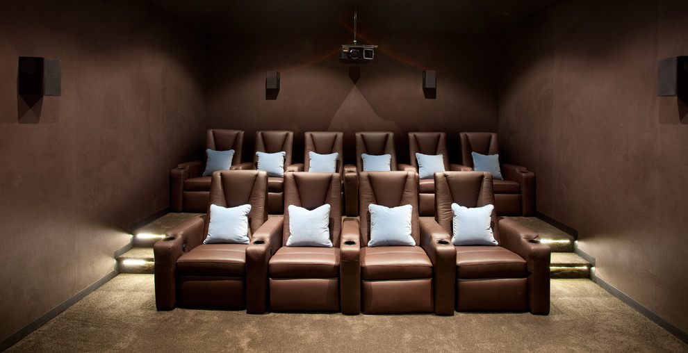 Double Recliner Home Theater Contemporary with Brown Armchair Brown Carpet Brown Walls Dark Room Home Theater Light Blue