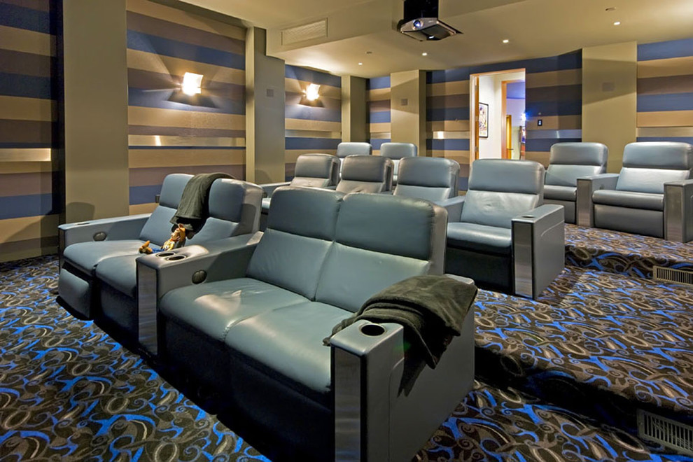Double Recliner Home Theater Contemporary with Colorful Carpet Pattern Home Theater Projector Recliner Chairs Screening Room Striped Walls