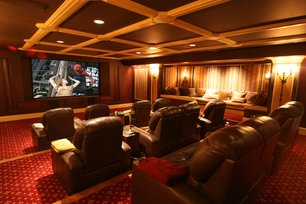 Double Recliner Home Theater Traditional with Built in Seating Carpet Pattern Ceiling Lighting Coffered Ceiling Decorative Pillows Home