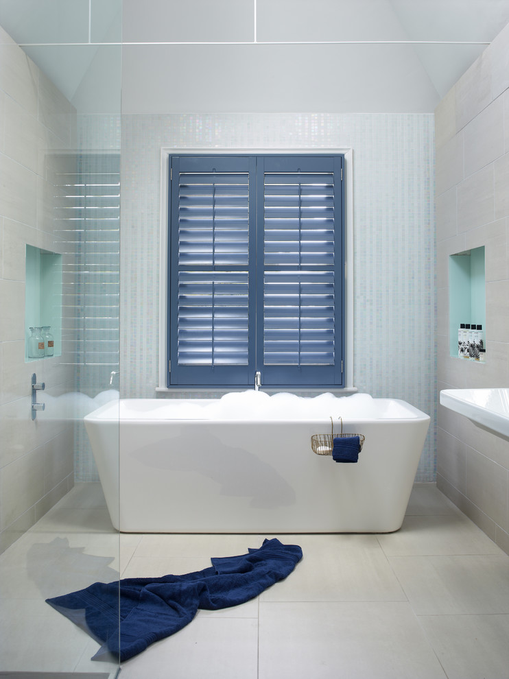 Double Sink Bathroom Vanities Bathroom Contemporary with Bathroom Bathtub Faucet Bathtubs Blue Blue Shutters Bubble Bath Highprofile Shutters Interior