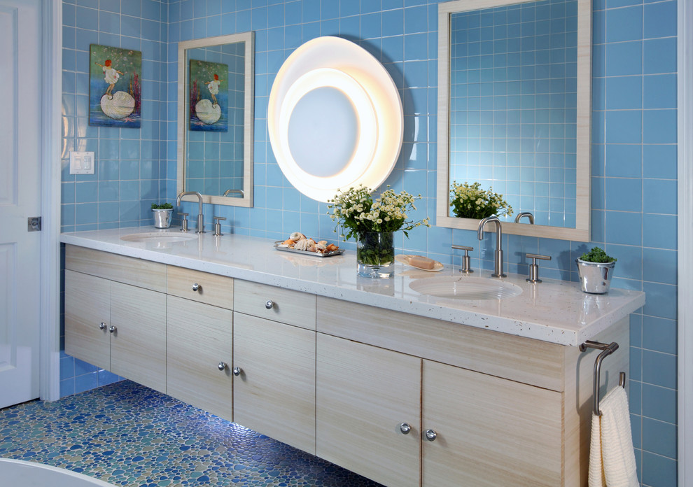 Double Sink Bathroom Vanities Bathroom Contemporary with Blue Bathroom Tile Blue Mosaic Tile Floor Blue River Rock Floor Blue