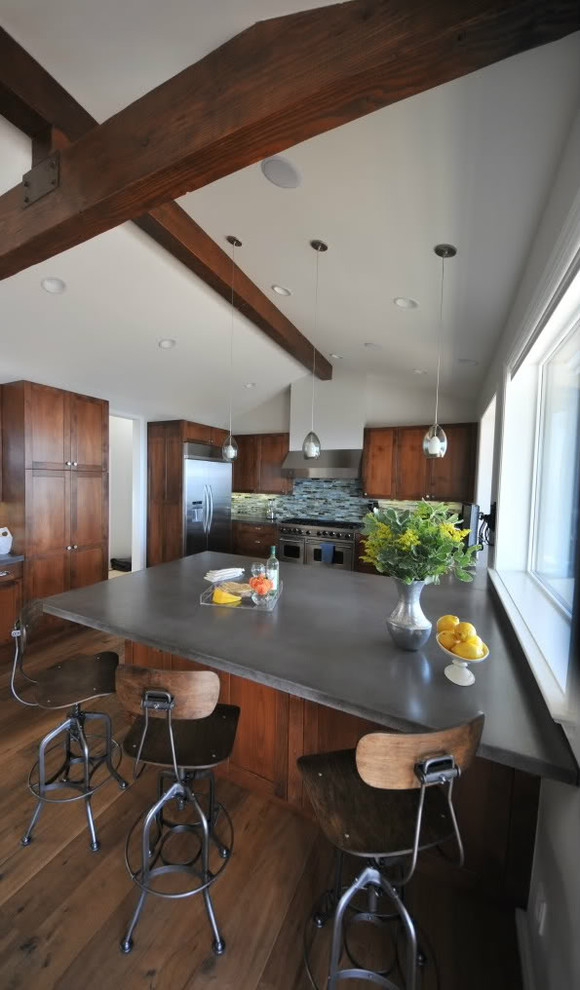 Drafting Stools Kitchen Transitional with Beamed Ceiling Breakfast Bar Concrete Counter Top Custom Alder Cabinetry Eat in Kitchen