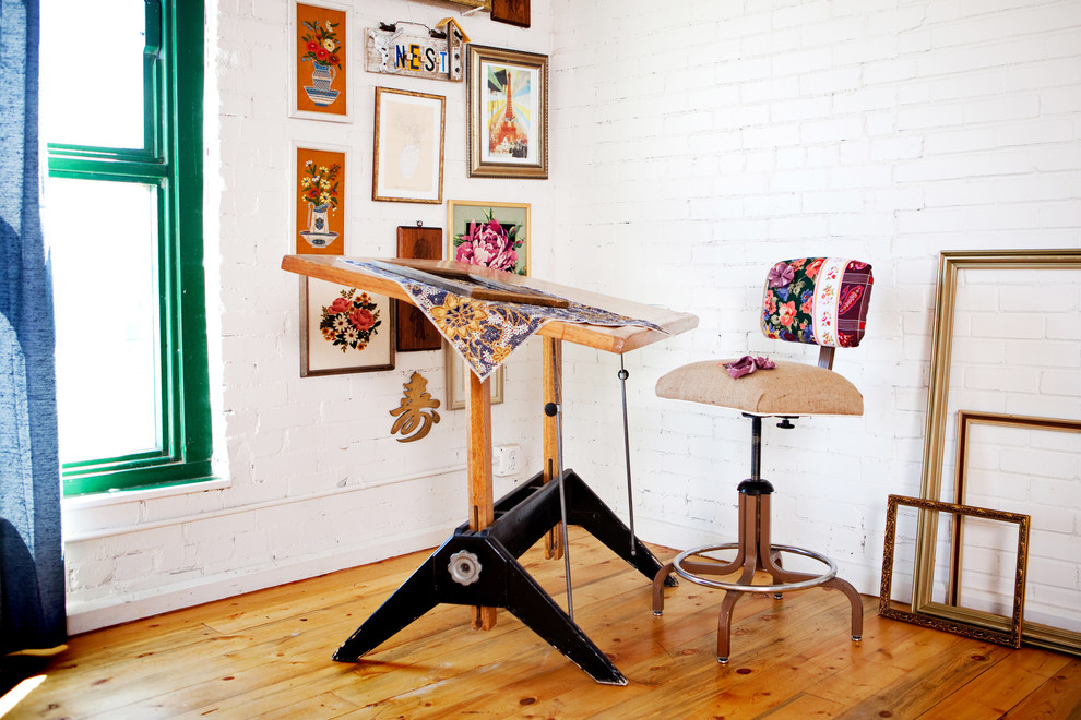 drafting table ikea Home Office Eclectic with brick wall desk chair DIY drafting table frames gallery wall green trim