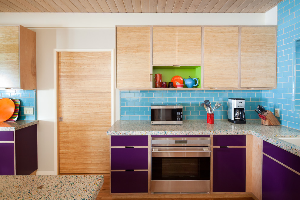 Drawer Pulls and Knobs Kitchen Eclectic with Bamboo Cabinets Blue Tiles Colorful Kitchen Concrete Countertops Eggplant Green Accent Kitchen