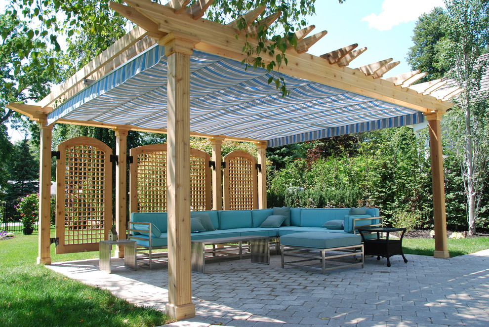 dreambaby retractable gate Patio Traditional with awning backyard blue canopy cedar pergola grass lattice panels lawn metal sectional