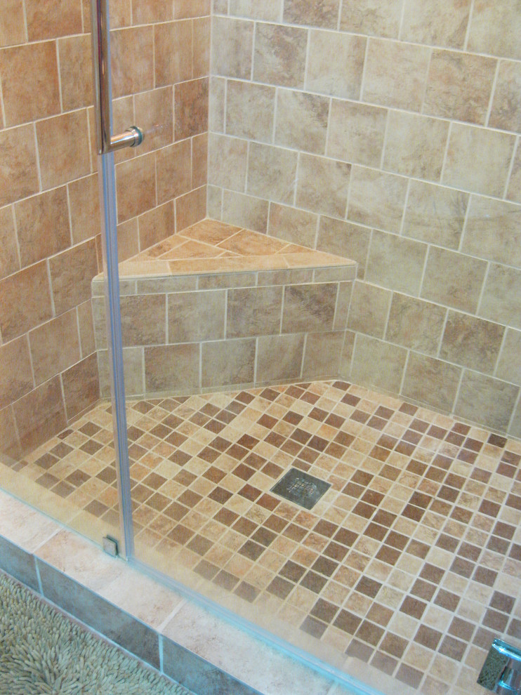 Dreamline Shower Door Bathroom Transitional with 12 X 12 Shower Floor Beige Porcelain 6 X 6 Shower Tile