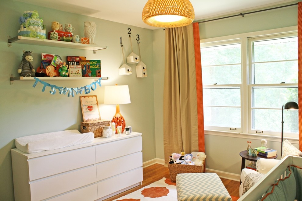 Dresser Changing Table Nursery Modern with Bookshelves Changing Table Chest of Drawers Chevron Curtains Double Hung Windows Drapes