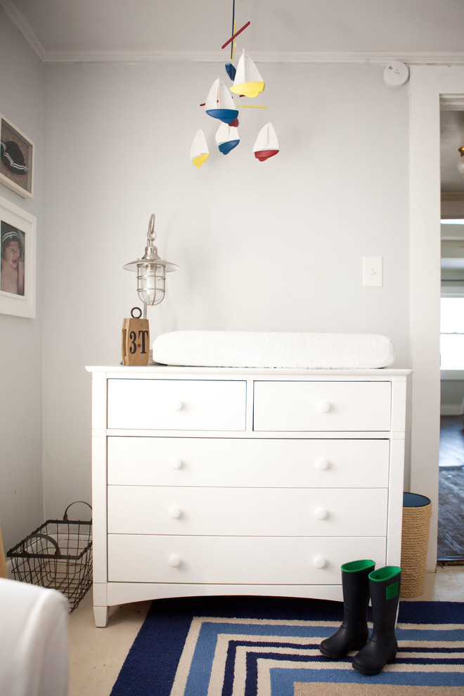 Dresser Changing Table Nursery Traditional with Basket Blue Rug Boat Mobile Ceiling Mobile Cottage Gray Wall Metal Table
