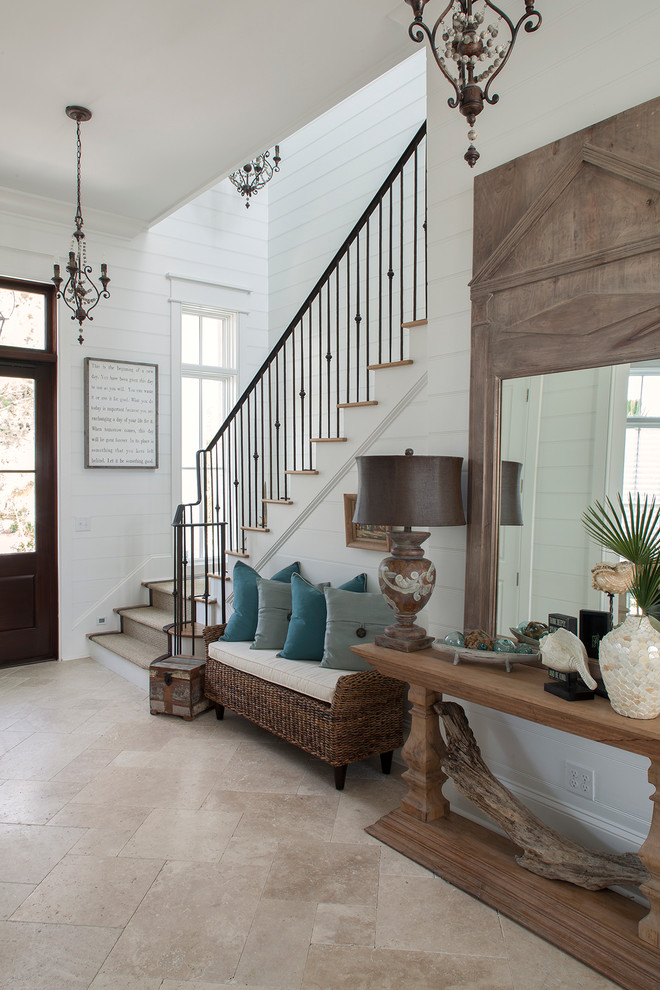 Driftwood Furniture Entry Beach with Beige Floor Tile Blue Pillows Chandelier Console Table Driftwood Tongue and Groove
