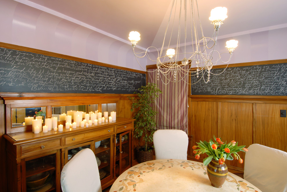 Dripless Candles Dining Room Eclectic with Artistic Walls Ceiling Candle Ceramic Table Chair Rail Chalkboard Chalkboard Paint Crystal