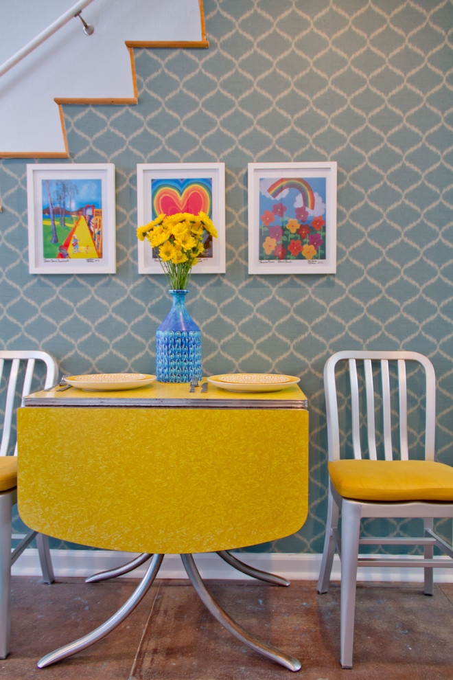 Drop Leaf Kitchen Table Dining Room Modern with Art Chair Retro Stairs Table Wallpaper Yellow Table