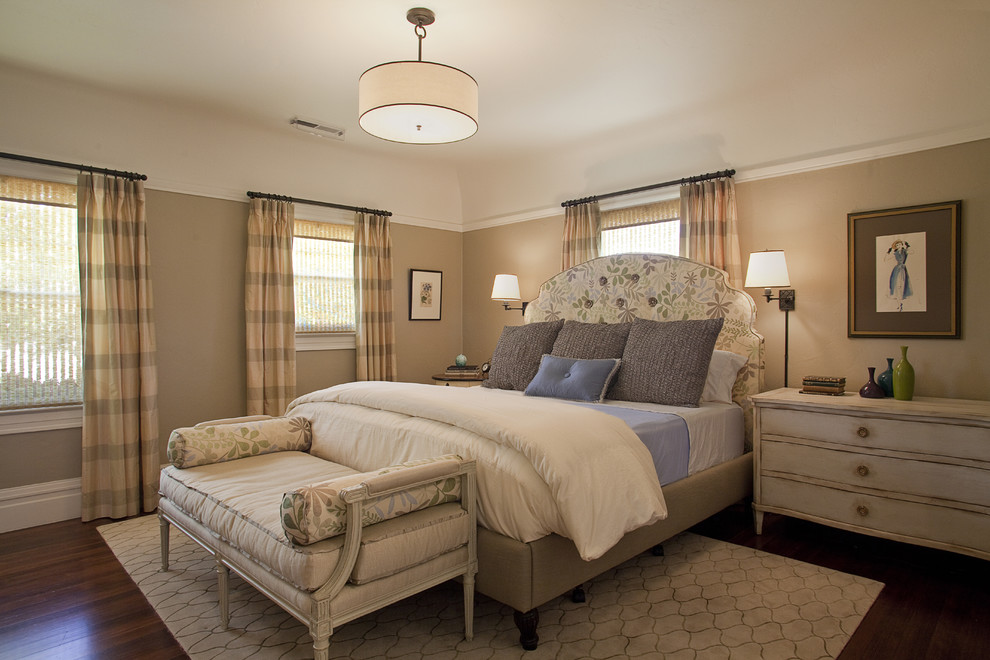 Drum Chandelier Bedroom Traditional with Area Rug Artwork Beige Bench Seat Curtain Panels Dark Stained Wood Floor