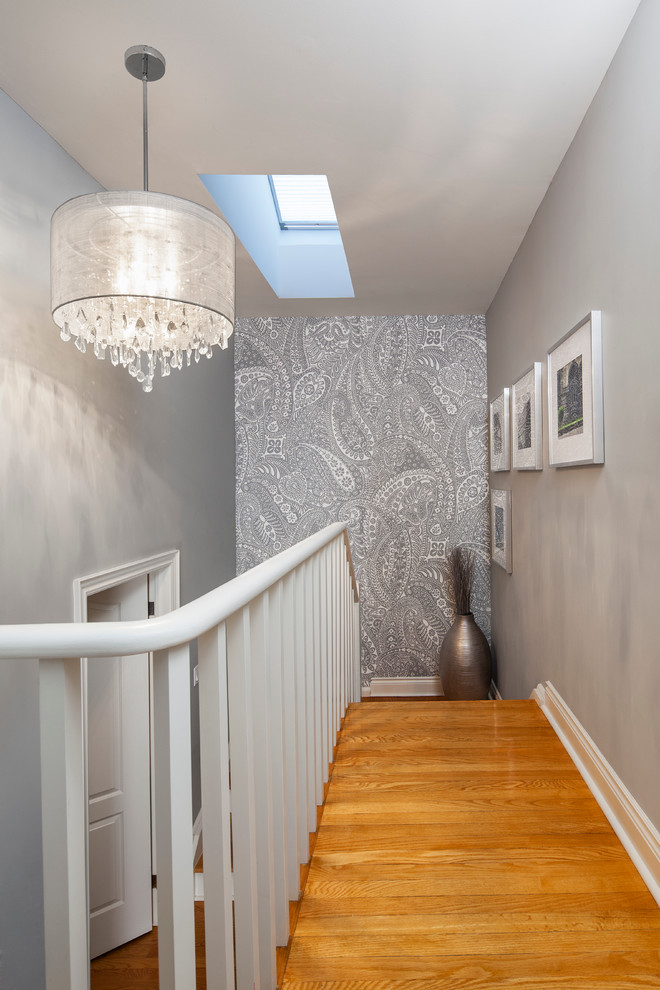 Drum Chandelier Staircase Transitional with Chandelier Contemporary Framed Wall Art Grey Landing Modern Railing Skylight Staircase Stairs