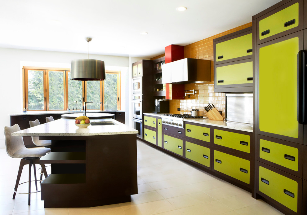 drum pendant Kitchen Eclectic with 70's inspired kitchens bold color kitchens bright kitchens brown cabinets Colorful Kitchens
