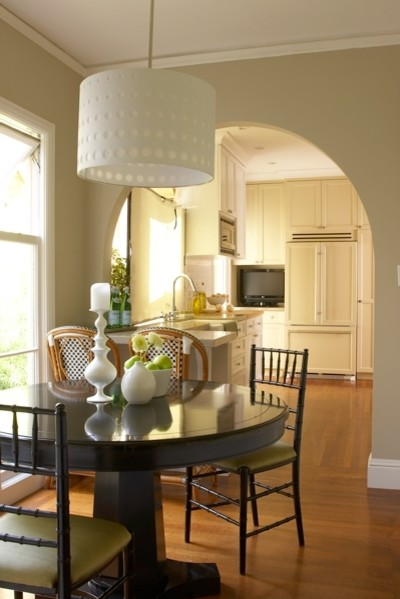 Drum Pendant Kitchen Traditional with Arch Eat in Kitchen Neutral