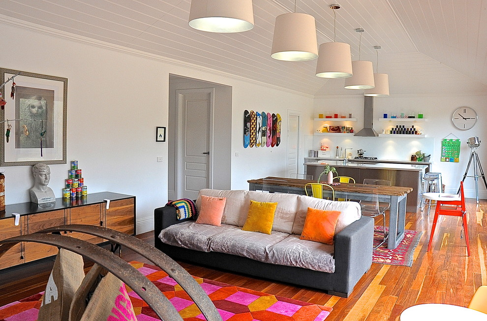 Drum Pendant Living Room Eclectic with My Houzz