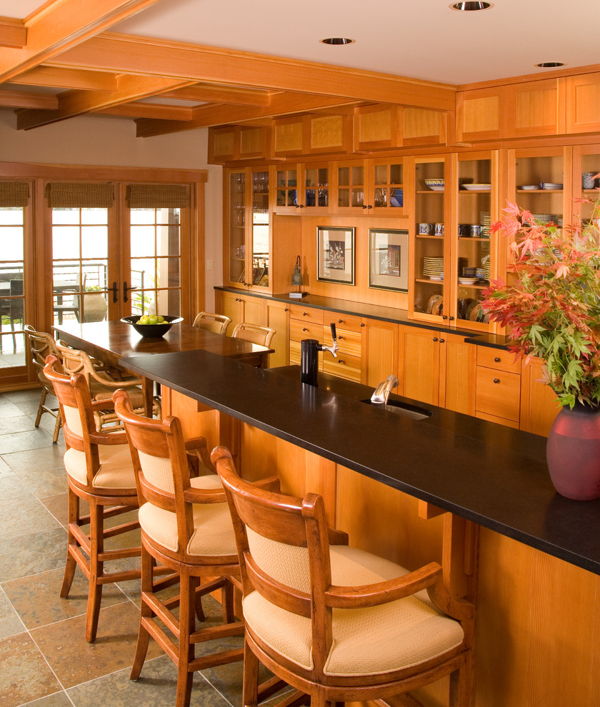Dual Tap Kegerator Kitchen Craftsman with Breakfast Bar Coffered Ceiling Eat in Kitchen French Doors Glass Cabinets Recessed Lighting
