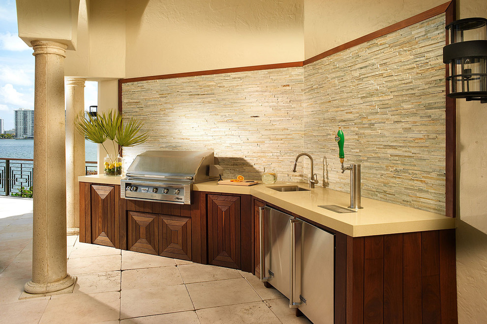Dual Tap Kegerator Patio Mediterranean with Beer Tap Built Ins Columns Lanterns Neutral Colors Outdoor Entertaining Outdoor Kitchen