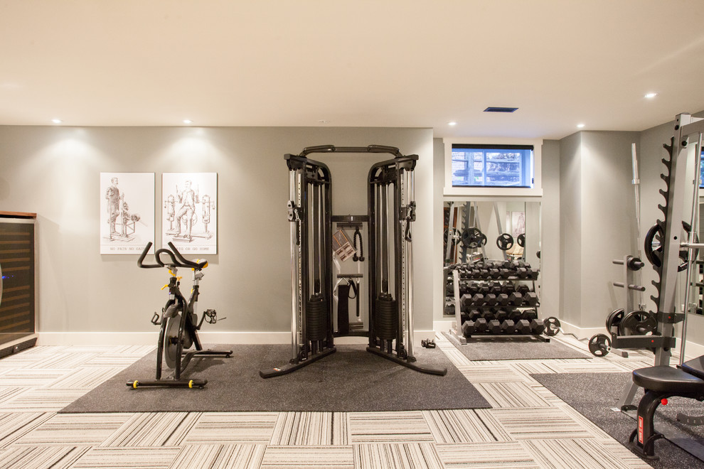 Dumbbell Rack Home Gym Contemporary with Beige Wall Carpet Tile Floor Drawings Exercise Bike Exercise Equipment Exercise Room