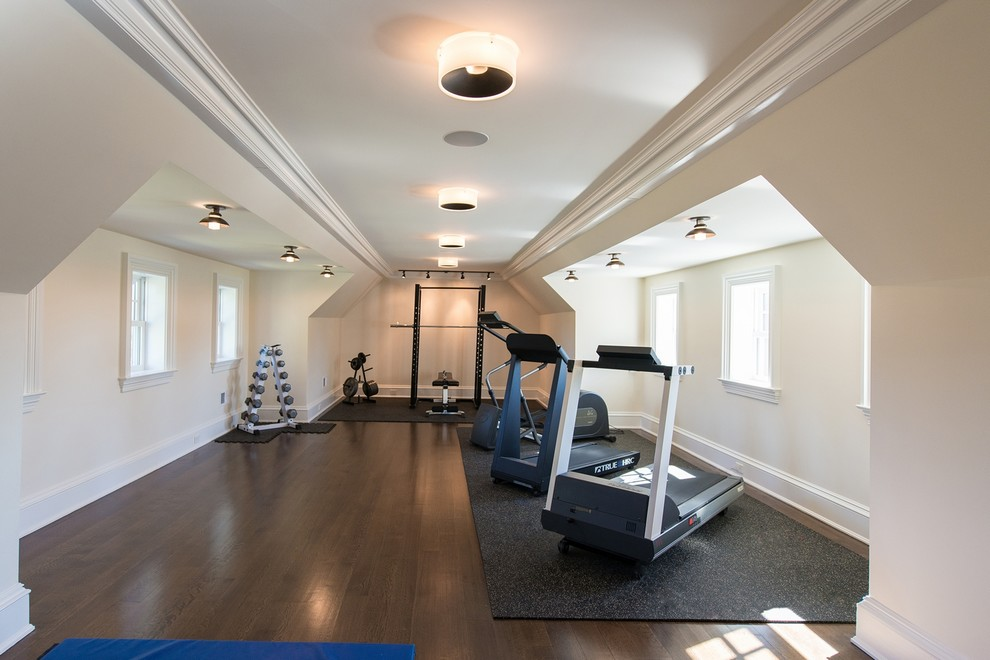Dumbbell Rack Home Gym Traditional with Angled Ceiling Attic Bar Bars Bench Bench Press Cardio Circular Lights Crown