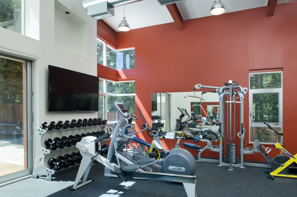 dumbbells sets Home Gym Contemporary with clerestory window exercise machines free weights free weights stand gray carpet high