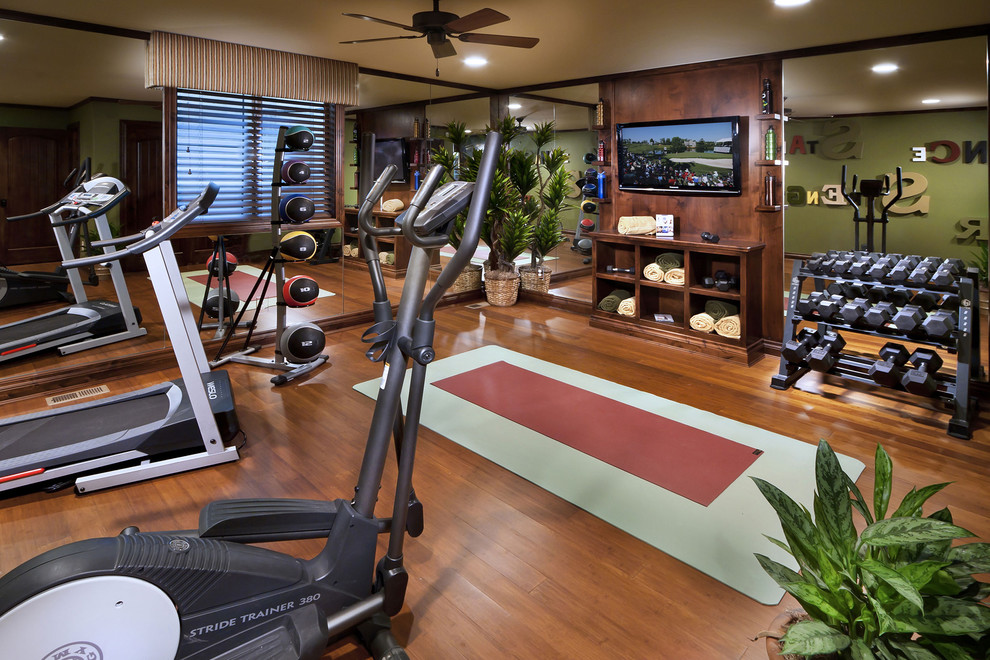 Dumbbells Sets Home Gym Mediterranean with Built in Storage Ceiling Fan Free Weights Gym Equipment Houseplants Mirrored Walls Towel
